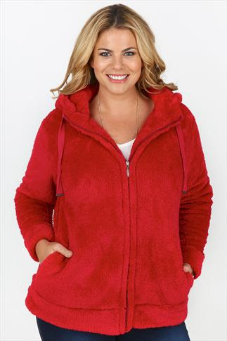 Red Fluffy Fleece Hoodie With Zip Fastening And Drawcord