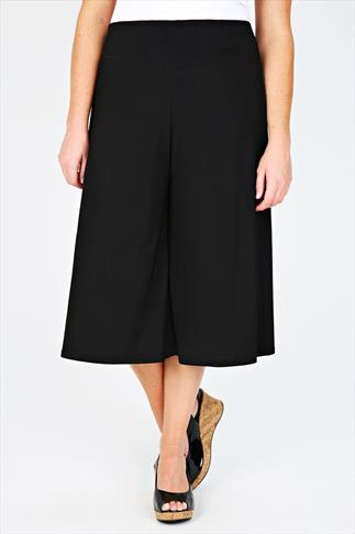 Black Silky Jersey Culottes