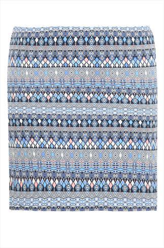 White, Blue & Coral Tile Print Jersey Short Skirt