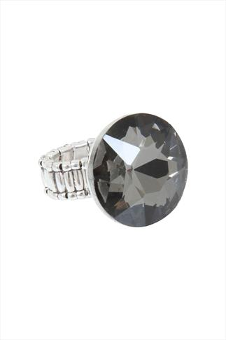 Silver Stretch Ring With Large Crystal Detail