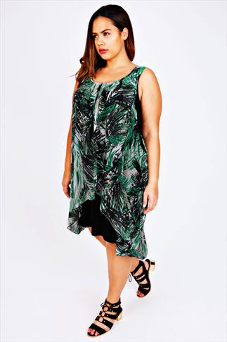 Green & Black Palm Print Chiffon Overlay Tunic Dress