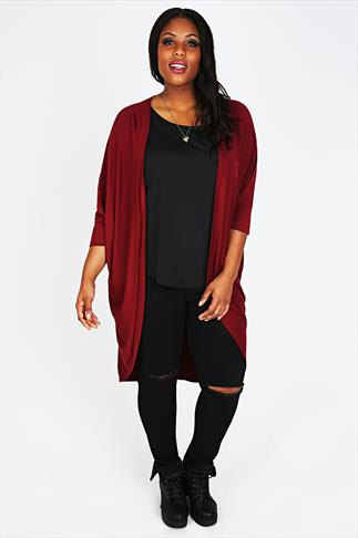 Wine Longline Cocoon Cardigan With 3/4 Sleeves