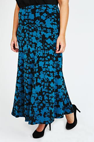 Black And Teal Floral Print Paneled Jersey Maxi Skirt