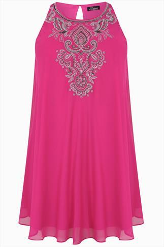 Hot Pink Sleeveless Swing Tunic Dress With Embellishment