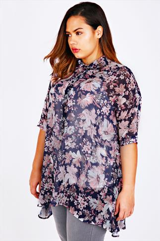 Navy & Pastel Pink Floral Print Chiffon Shirt With Dip Sides