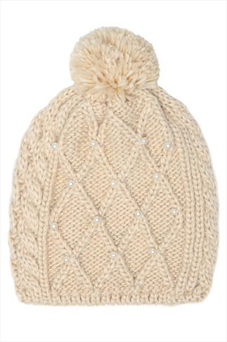 Oatmeal Knitted Bobble Hat With Pearl Embellishment