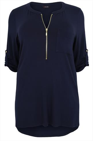 Navy Zip Front Jersey Top With 3/4 Length Sleeves