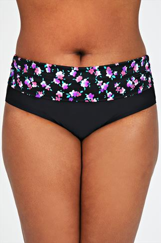 Black & Multi Floral Print Fold Over Waist Tankini Brief