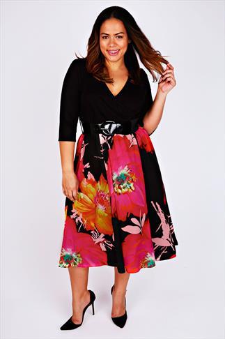 SCARLETT & JO Pink & Orange Floral Print 2 in 1 Wrap Dress