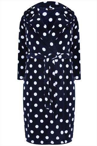 Navy & White Spotted Fleece Dressing Gown