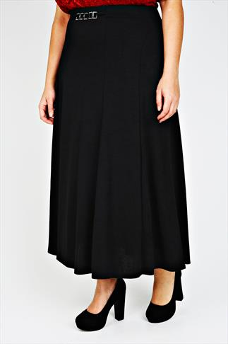 Black Diamanté Trim Waist Panelled Skirt