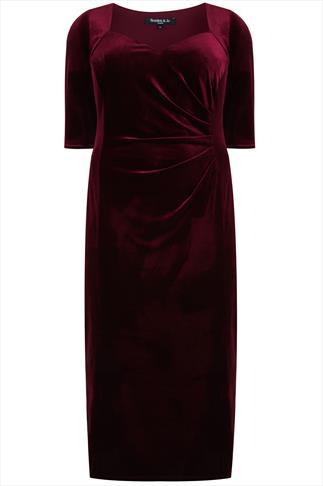 SCARLETT & JO Cranberry Velvet Maxi Dress