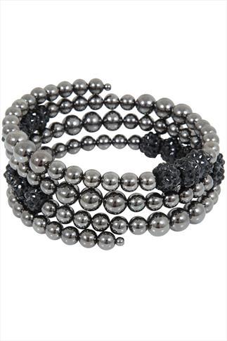Gunmetal Grey Bead Coil Bracelet