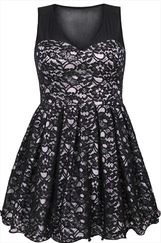 Black & Nude Pink Floral Lace Sleeveless Skater Prom Dress
