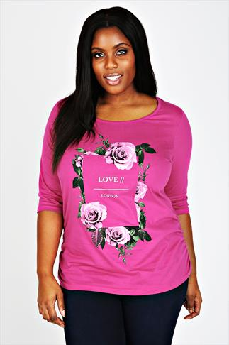 "Pink 3/4 Sleeve Ruched Side Top With Floral ""Love"" Print"