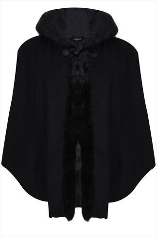 Black Cape With Fur Trim Hood