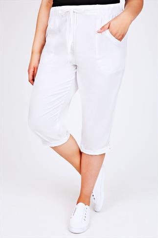 White Cotton Twill Roll Up Crop Trousers