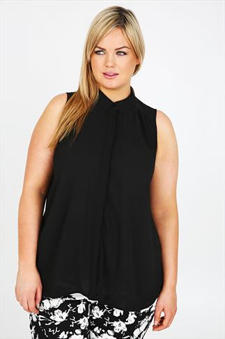 Black Sleeveless Crepe Button-Up Shirt With Pleating Detail