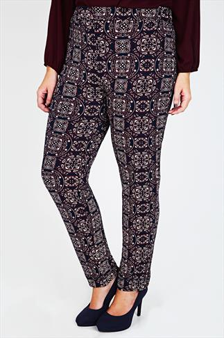 Navy & Burgundy Tile Print Harem Trousers