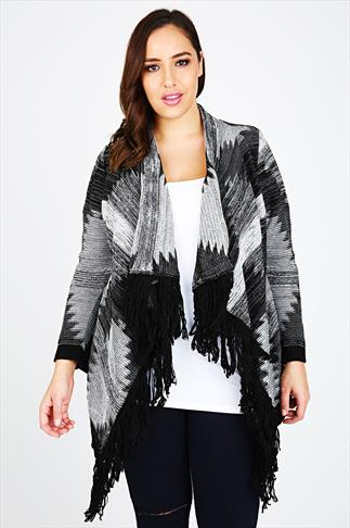 Black & White Aztec Stitch Waterfall Cardigan With Fringe Front Detail