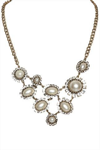 Gold Antique Style Pearl And Diamanté Necklace
