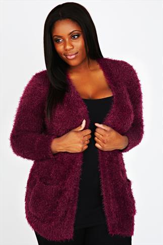 Dark Pink Eyelash Knitted Cardigan