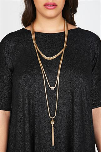 Gold Triple Chain Long Necklace