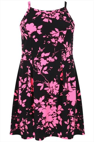 Black & Neon Pink Floral Print Sleeveless Skater Dress