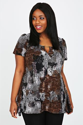 Brown And Black Reptile Print Longline Top With Godet Sides