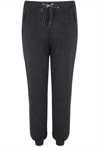 Grey Cuffed Joggers With Velour Draw String