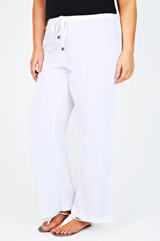 White Crepe Full Length Palazzo Trousers With Drawstring Detail
