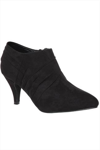 Black Suedette Shoe Boots With Pleating Detail In EEE Fit