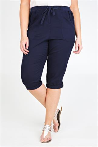 Navy Cotton Twill Crop Roll Up Trousers