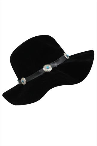 Black Suedette Floppy Hat With Turquoise Stone Trim