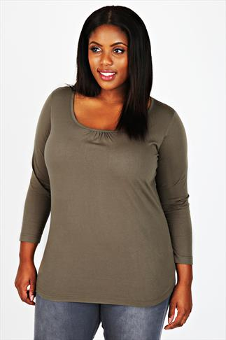 Khaki Long Sleeved Basic T-shirt With Ruching Detail