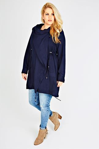 Navy Cocoon Shaped Parka Jacket With Drape Front