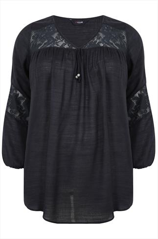 Black Blouse with Lace Detail & Long Sleeves