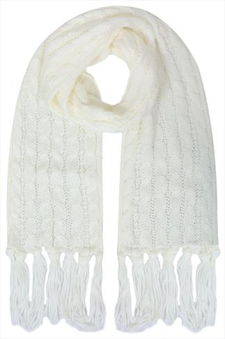 Cream Cable Knit Scarf With Tassels
