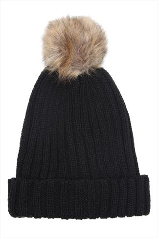 Black Knitted Beanie Hat With Brown Fur Bobble