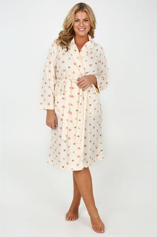 Cream & Multi Spotted Micro Fleece Dressing Gown