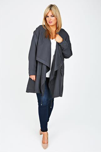 Grey Cocoon Shaped Parka Jacket With Drape Front