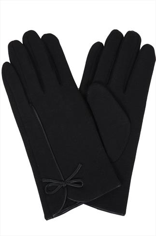Black Fur Lined Gloves With Bow Detail