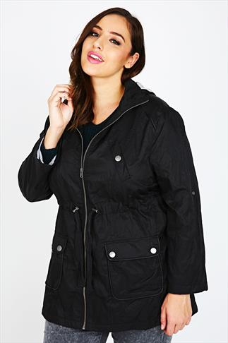Black Parka Jacket With PU Trim And Contrast Jersey Lining