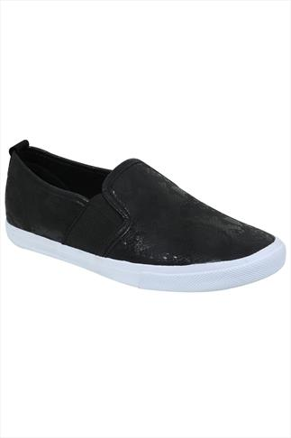 Black Snake Print Slip On Plimsolls In EEE Fit