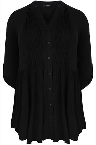 Black Jersey Blouse With Pintuck Detail