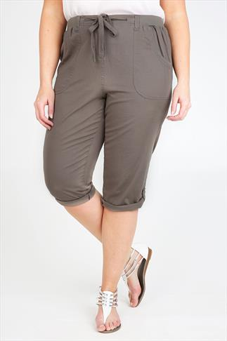 Khaki Cotton Twill Roll Up Cropped Trousers