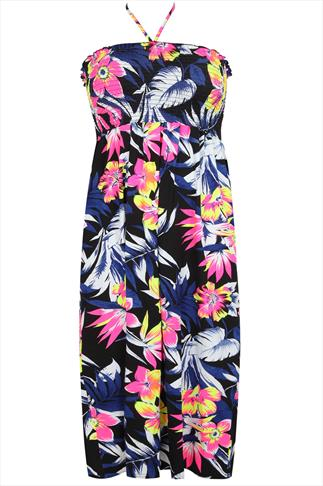 Fluorescent Palm Print Bandeau Halter Neck Dress