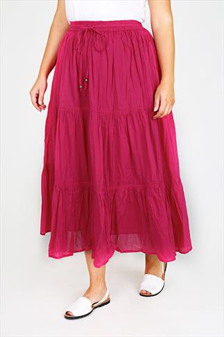 Magenta Cotton Voile Maxi Skirt With Crochet Detail
