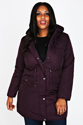 Wine Padded Parka Coat With Quilted Shoulders & Hood
