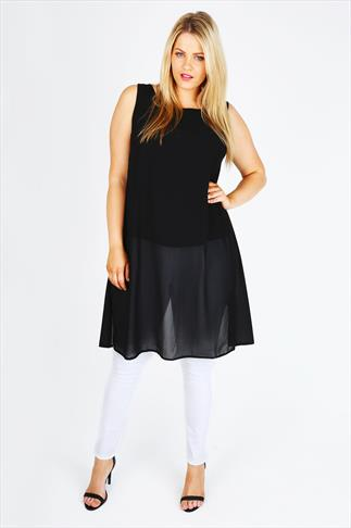 Black Sleeveless Chiffon Longline Split Back Top